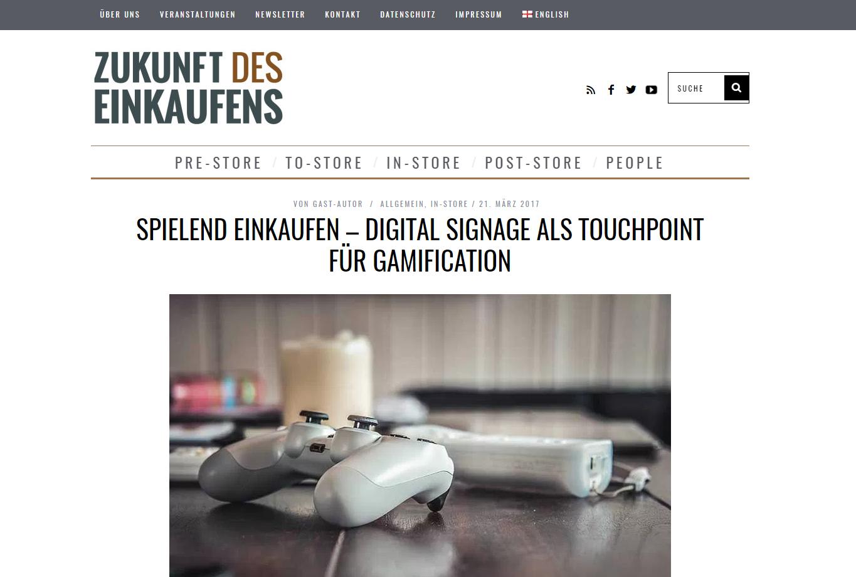 """Lesehinweis: Blogbeitrag in """"Zukunft des Einkaufens"""" zum Thema Gamification und Digital Signage"""