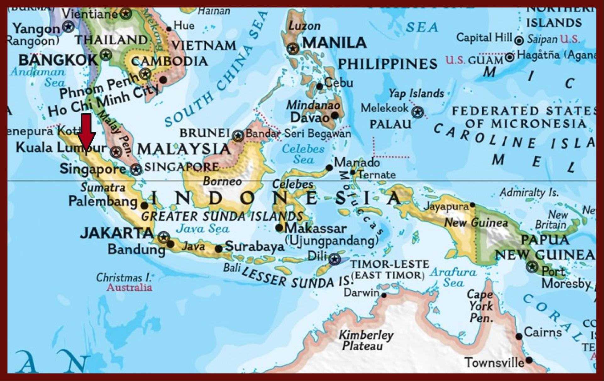 Der rote Pfeil markiert die Lage des Toba Sees auf Sumatra.
